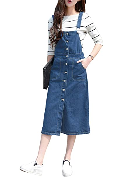 d383bc23ef Yeokou Women's Casual Suspender Buttoned Midi Denim Overall Dress(X-Small,  LightBlue)