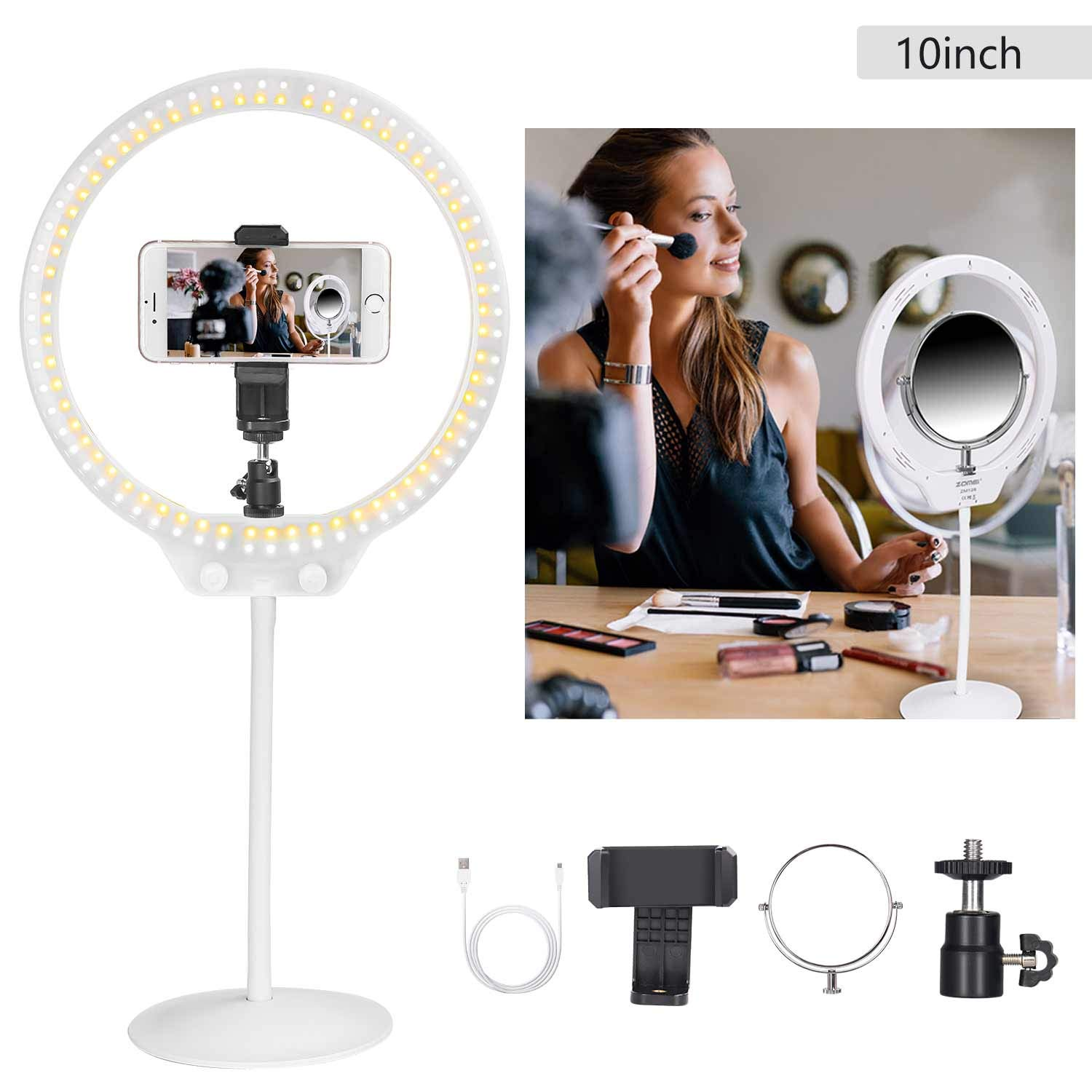 ZoMei LED Ring Light 10'' with Soft Tube Stand&Double Mirror&Phone Holder for Live Streaming,YouTube,Portrait,Dimmable Desk Makeup Ring Light for Photography with 3 Light Mode Brightness Level(White)