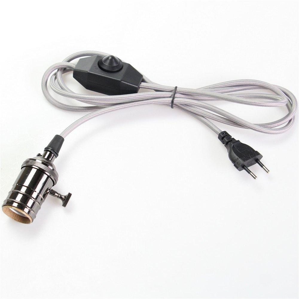 250/V Stoff Kabel schwarz 60.00 wattsW 240.00 voltsV reachyea E27//E26/2/Meter H/ängelaterne Kordel Vintage Edison Copper Light Sockel H/ängelampe Halter Leuchtmittel mit D/ämmerungsschalter 110