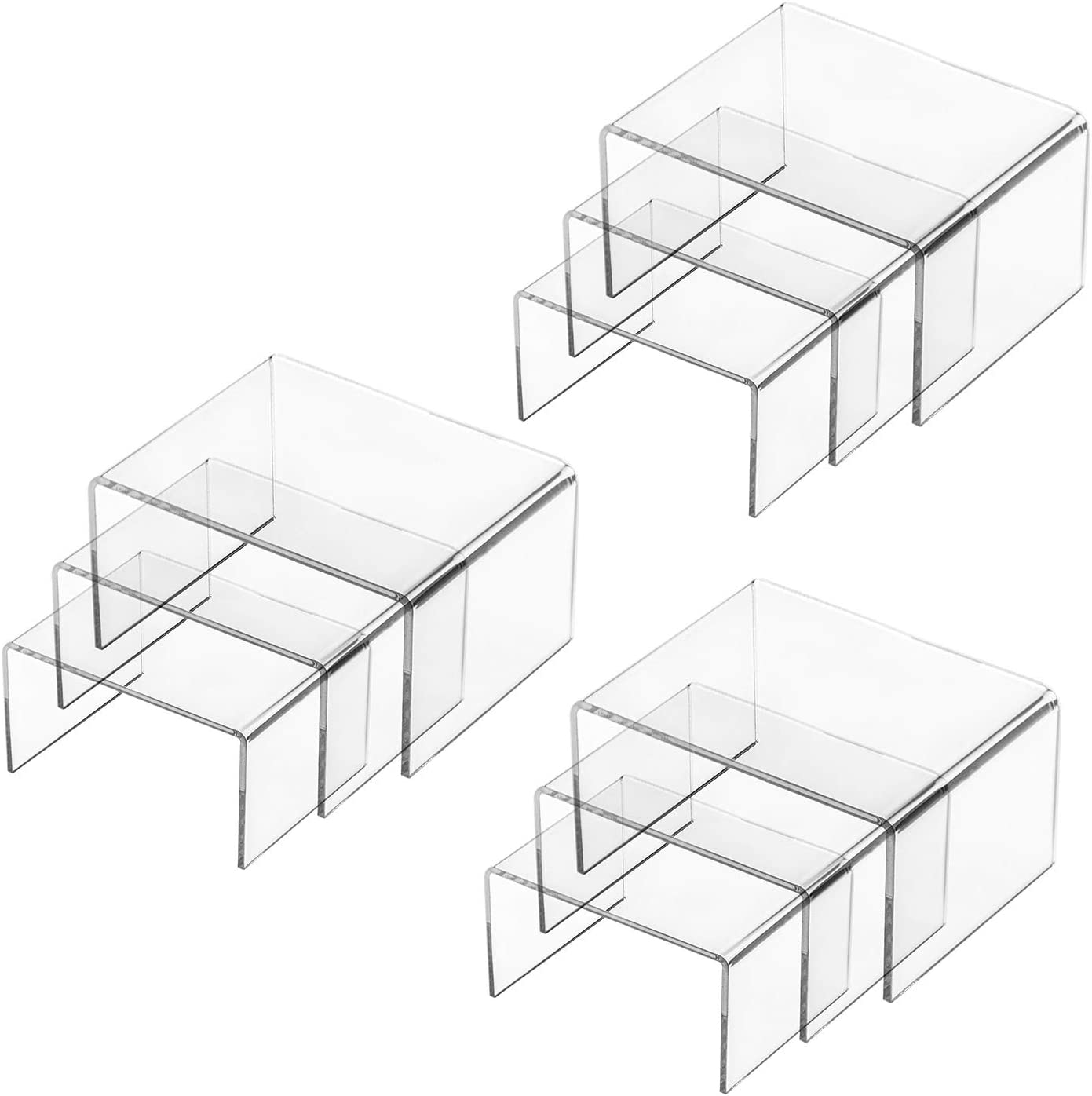 Hedume Set of 9 Clear Acrylic Display Risers for Figures, Buffets, Cupcakes and Jewelry Display Stands