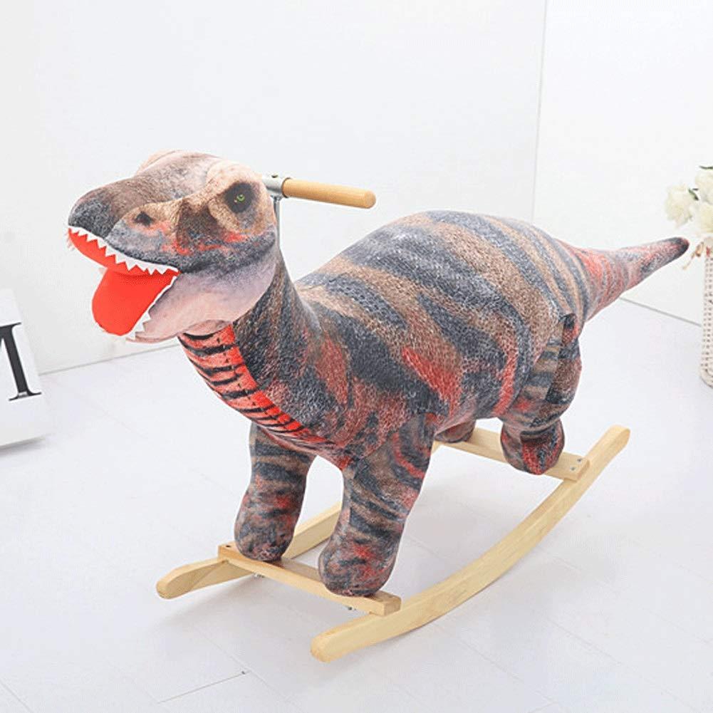 ZFF Caballo De Balancín Madera,Silla Mecedoras Animales Hecho A Mano Decoraciones Navidad Dinosaurio por Bebé 1-4 Años Edad (Color : B)
