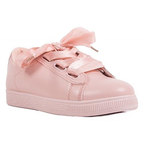 nueva estilos 65a00 8dd75 Primtex Zapatillas para mujer con cordones de cinta satinada ...