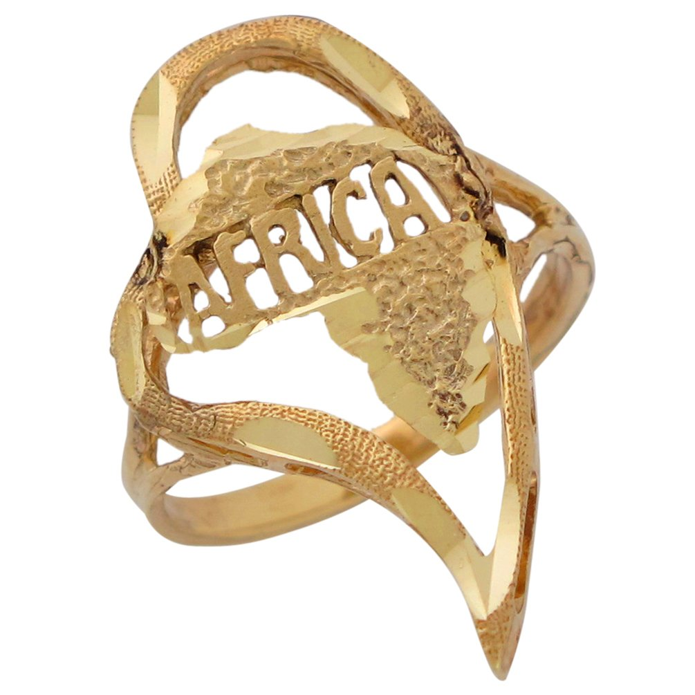 14k Yellow Gold Diamond Cut Africa Inside Heart Patriotic Ladies Ring