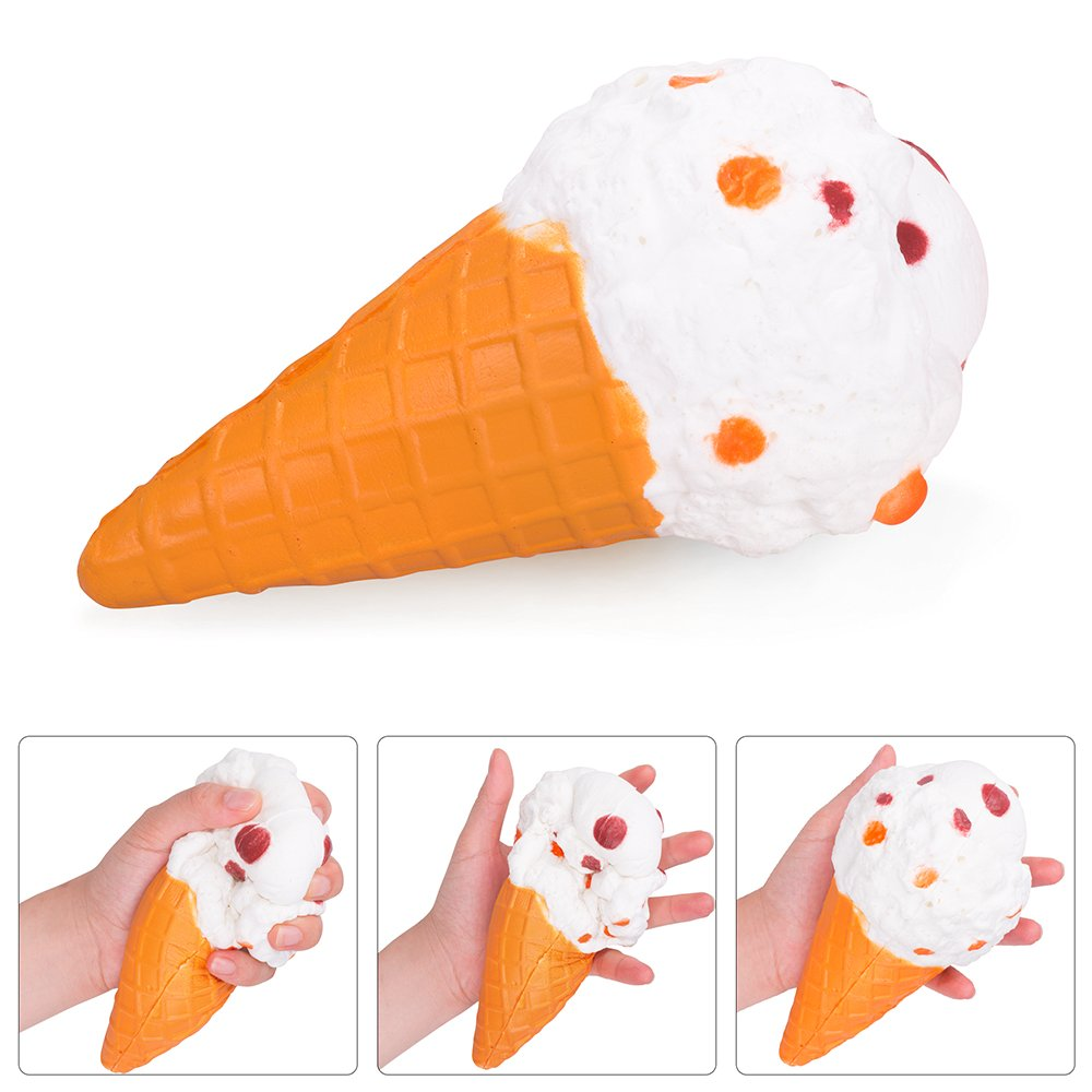 rosybeat 5PCS Squishies Pack Jumbo Scented Fruit Squishy Squeeze Toy Soft Slow Rising Squishys for girls and boys Stress Reliever Gift (Strawberry Peach Banana Ice Cream Cone Panda )