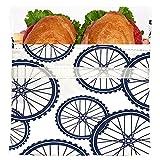 Lunchskins Reusable Quart Bag, Navy Blue Bike
