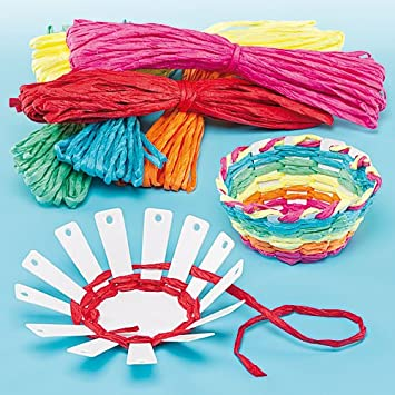 Card basket weaving kits 6 colours of raffia finished size 10cm card basket weaving kits 6 colours of raffia finished size 10cm kids craft activities negle Images