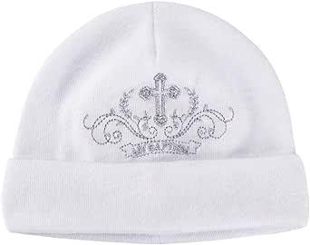 LACOFIA Sombrero de Bautizo para recién Nacidas con Bordado Gorros Beanie de algodón Unisex bebé y Babero de Bautizo Blanco