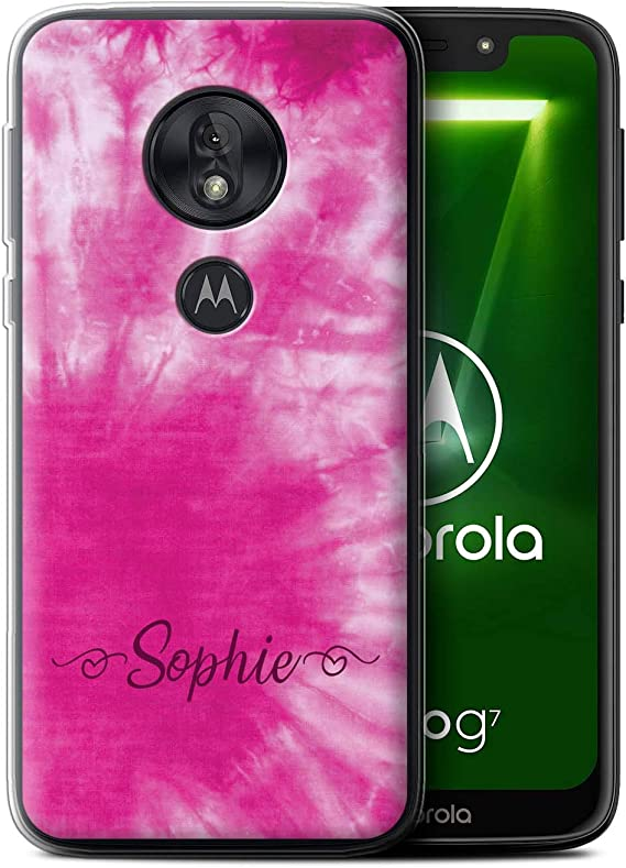 Amazon Com Personalized Custom Fabric Tie Dye Patterns Gel Tpu Case For Motorola Moto G7 Play Pink Stylish Hearts Design Initial Name Text Diy Cover