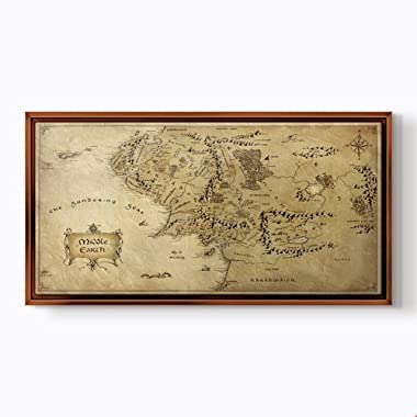PlusCanvas - Middle Earth - 120 x 60cm (48  x 24 ) Light Brown Framed Print