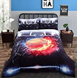 Alicemall 3D Basketball Bedding Lifelike Cool Ball in Fire and Water Printed 4 Pieces Cotton Duvet Cover Set, Queen Size College Bedding Set (Queen, Black)