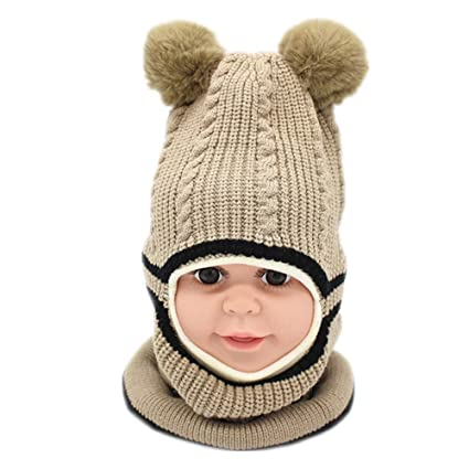 d9a8900b43e Thick Warm Set Knitted Beanies Balaclava Ski Face Mask Windproof Winter Kids  Pompom Hat Scarf One-piece Style Neck Warmer Winter Warm Clothing Set For  Boys ...