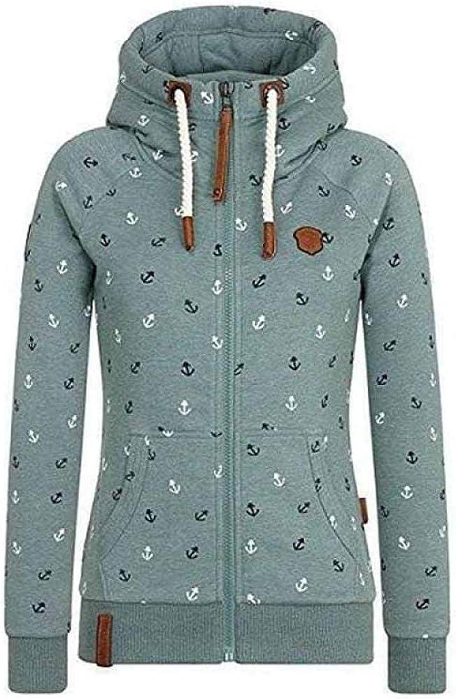 Songqiang Hooded Sweatshirt Frauen Herbst Und Winter Beflockung Verdickung Gedruckte Jacke Sportswear Reißverschluss Frauen Casual Sportswear Grün