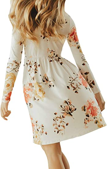 Girls Long Sleeve Floral Pleated Swing Casual Maxi Dress