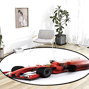 Indoor Outdoor Rug Cars Decor Generic Formula 1 Racing Car Illustration with Special Pace Effect Turbo Motion Auto Print Red Black Kids Carpet 4'Round