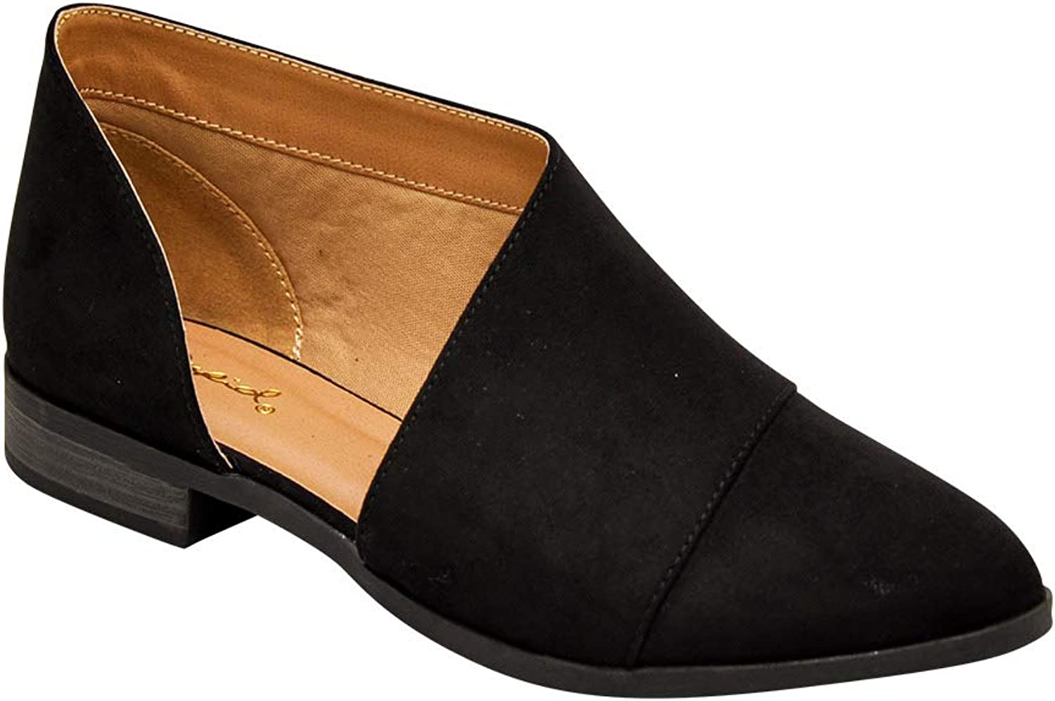 Qupid TUXEDO 68  Black Suede Women/'s D/'Orsay Closed Toe Ankle Booties
