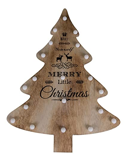 wooden christmas tree decoration with led lighting have yourself a merry little christmas premium - Wooden Led Christmas Decoration