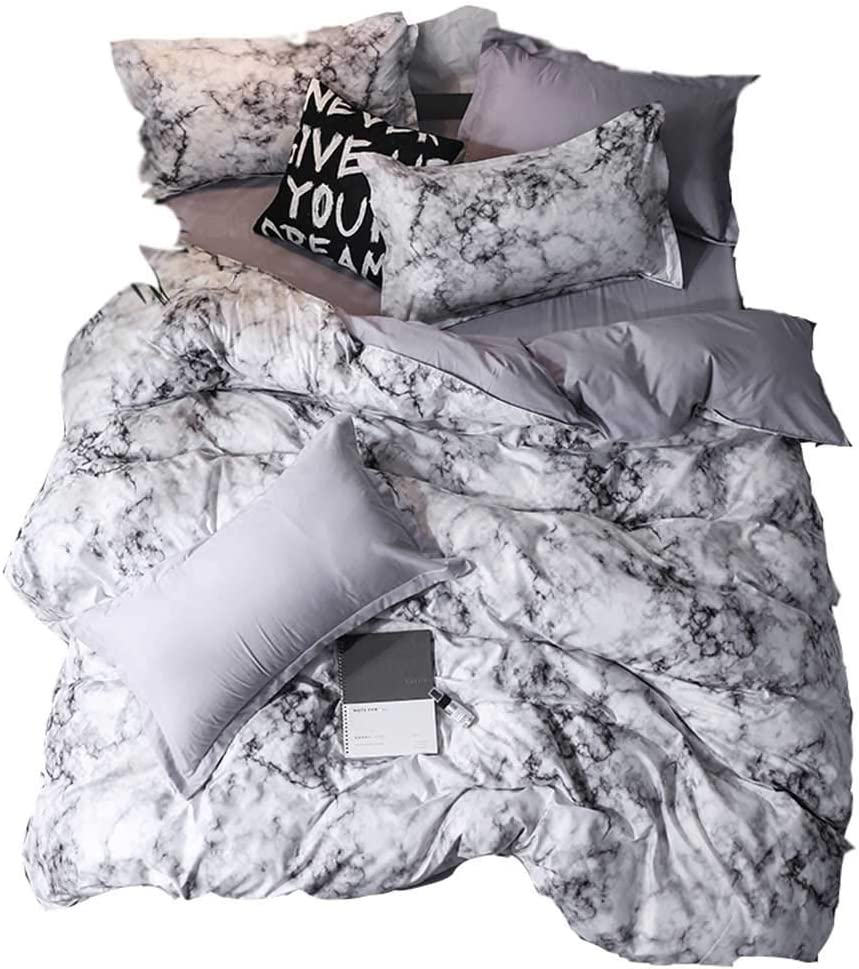 YOMIMAX Twin Duvet Cover Set Kids Boys Girls Marble Bedding Set Zipper(Twin,3Pcs)