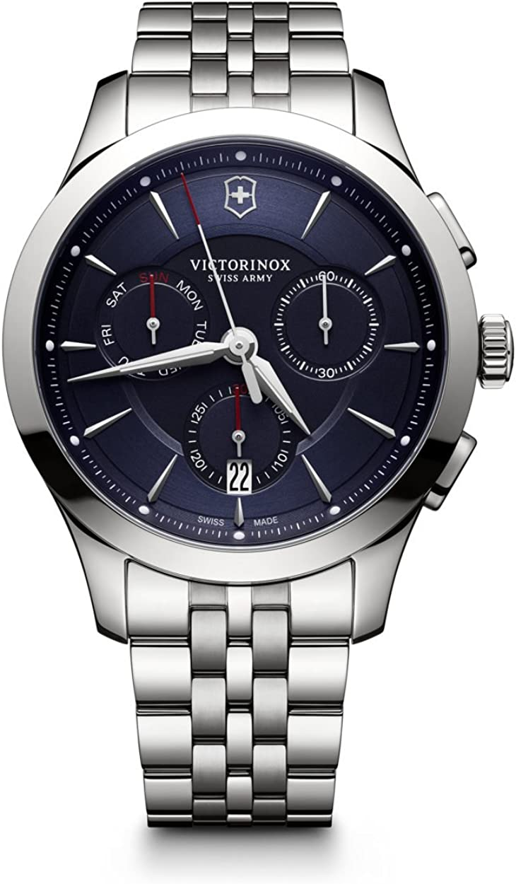 Victorinox Swiss Army Alliance 44MM Blue Face Chronograph Day & Date Mens Stainless Steel Swiss Watch 241746