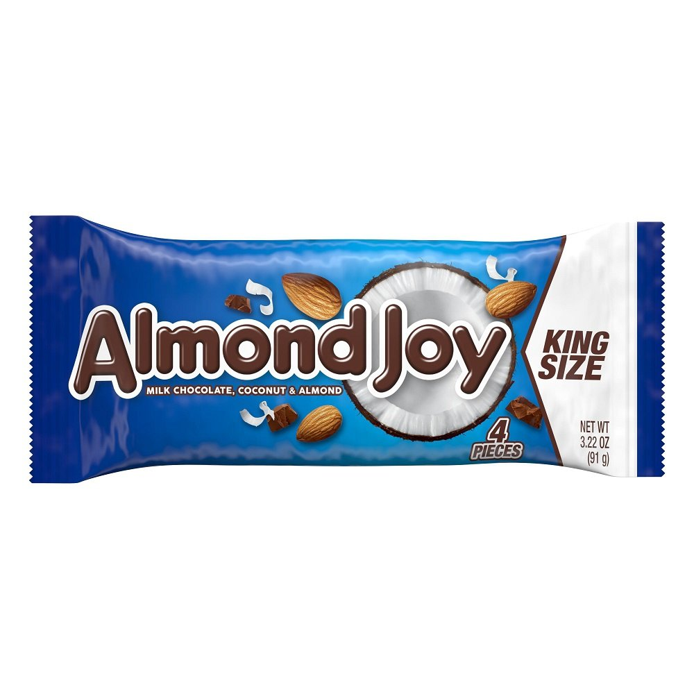 ALMOND JOY, Chocolate Coconut Candy Bar, King Size, 4 Pieces (Pack of 18)