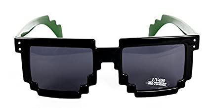 FreshGadgetz Gafas de sol Gafas de sol 8-Bit Negro Gamer Geek Pixel Gafas de sol Verde Verde