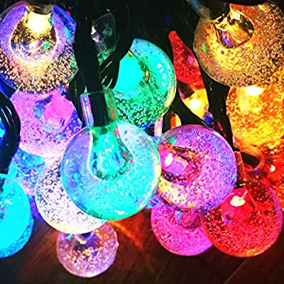 Sogrand Solar String Lights,60LED 36FT 4Color Crystal Ball,Solar Lights Outdoor String Lights for Garden,Party,Dinner,Celebration,Wedding,Holiday,Bedroom,Festival,Patio,Yard,Landscape