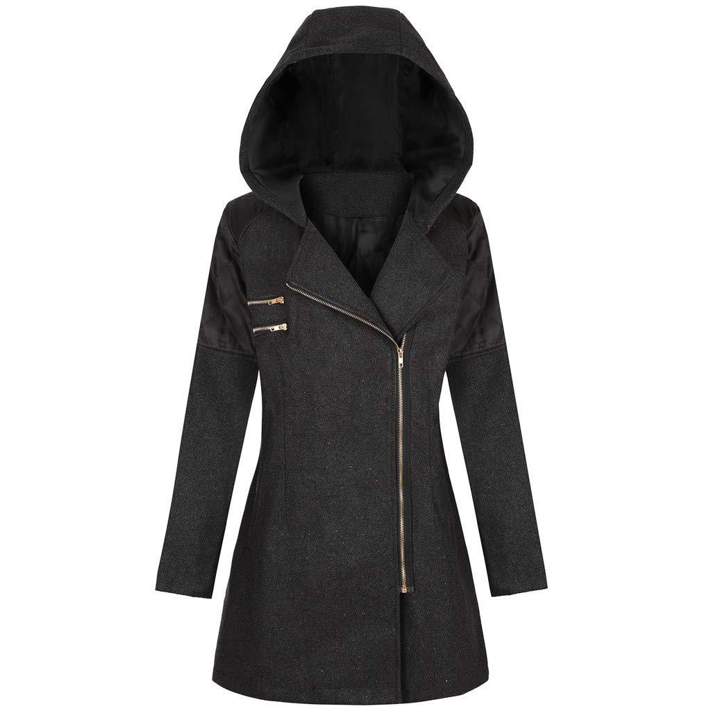 Shusuen Women Zip-Up Lapel Jacket with Plus Size Long Hoodie Winter Wind Coat Black by Shusuen_Clothes