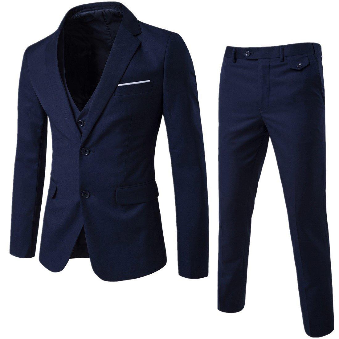 WEEN CHARM Mens Two Button Notch Lapel Slim Fit 3-piece Suit Blazer Jacket Tux Vest & Trousers Set,Navy,Medium by WEEN CHARM