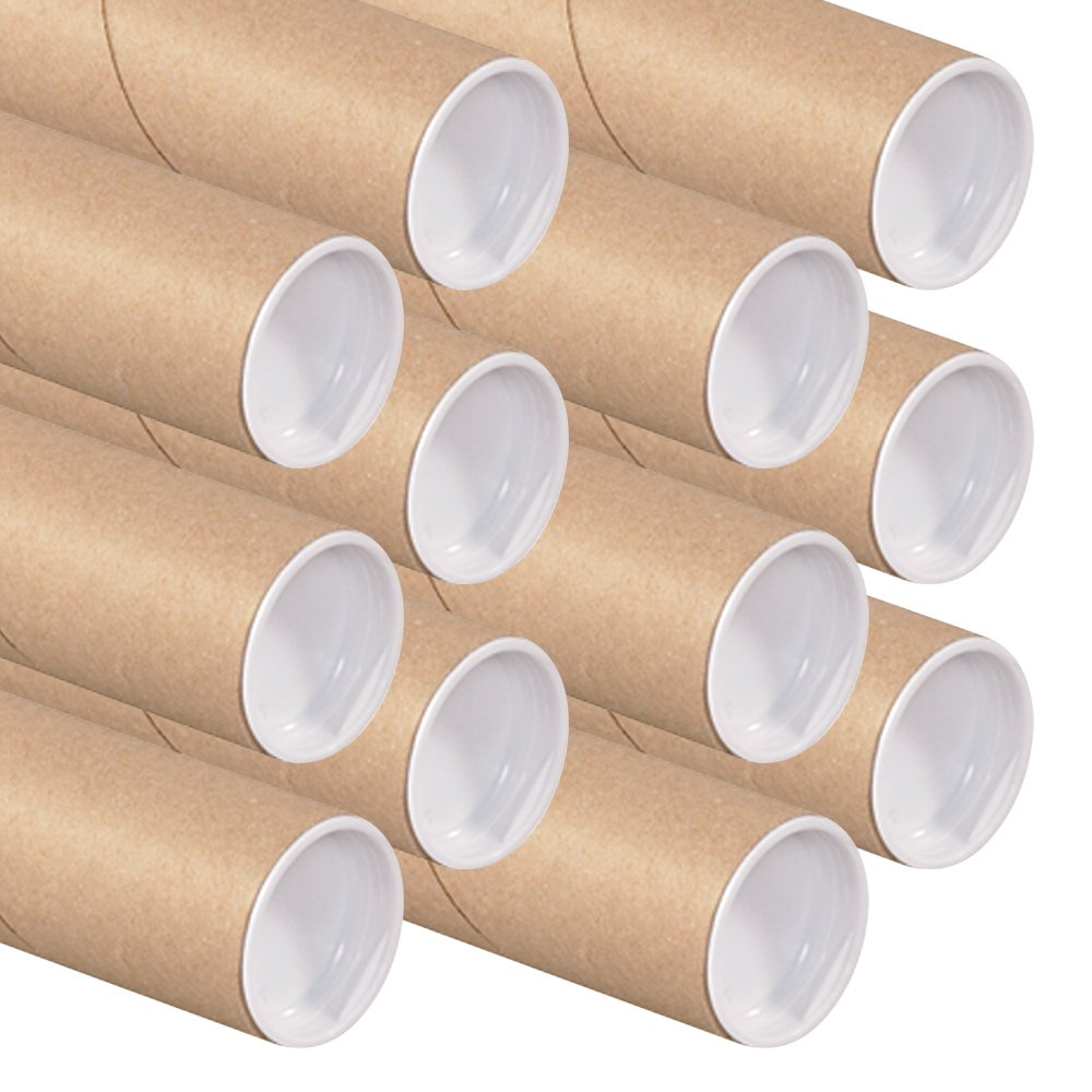 Create-A-Box Art Wall Kraft Mailing Tube with Cap, 2-Inch by 15-Inch, 12-Pack