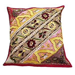 "Patchwork Handmade Home Décor Pillow Cover Pink Beaded Embroidered Cushion Case India Gift Art 16"" Inches"