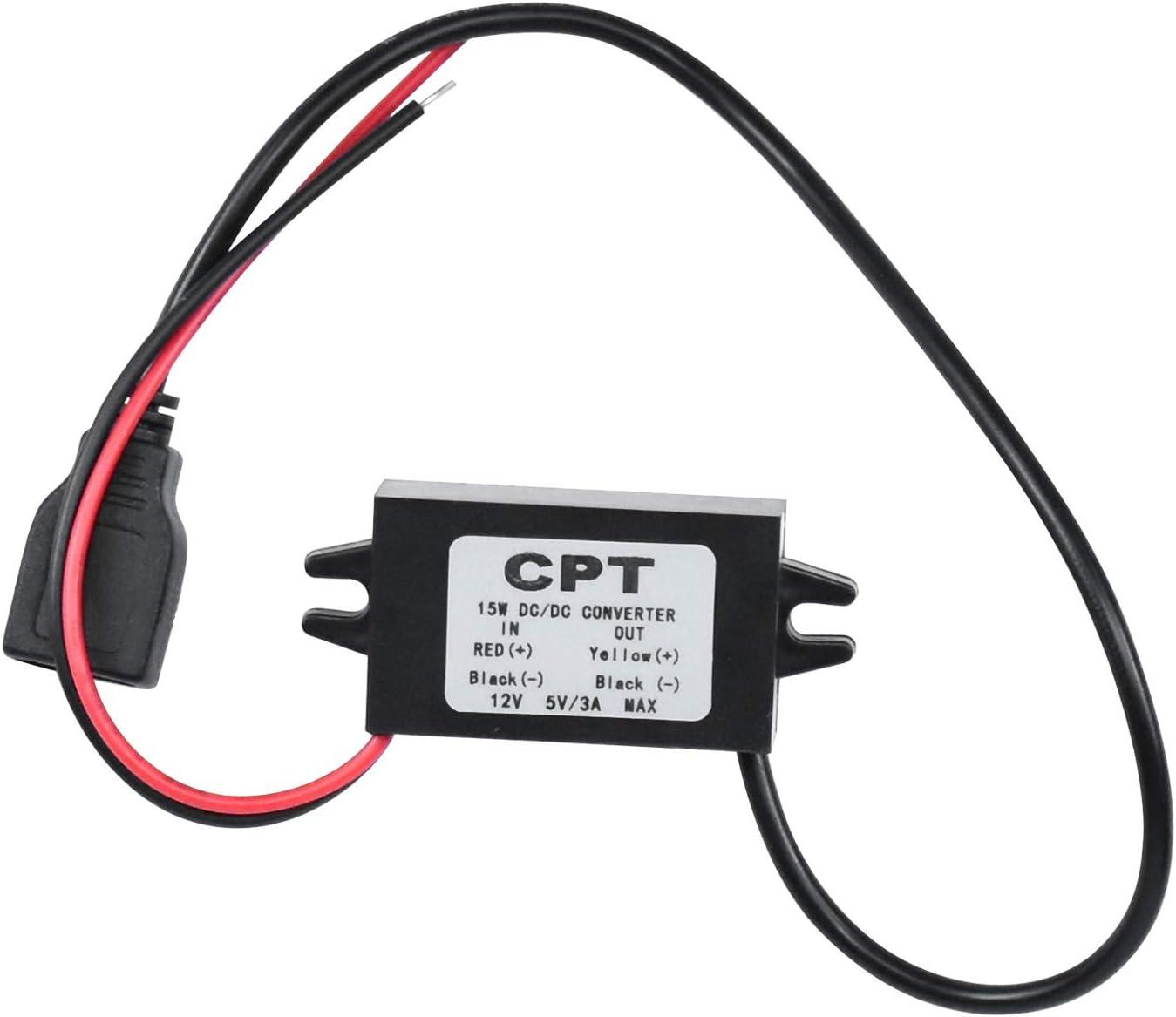 WEKON DC-DC Adaptador de Bajada 12V / 24V a USB 5V 3A Regulador de convertidor Convertidores de Potencia a Prueba de Agua Cables de Cable