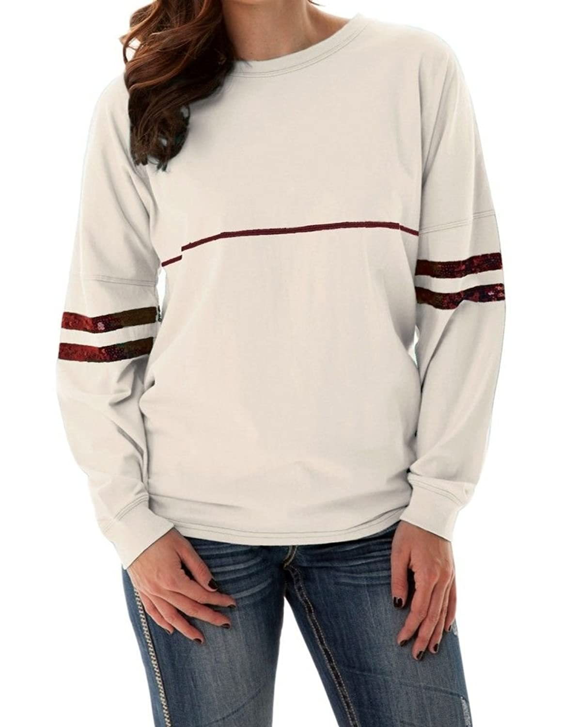 Cowgirl Tuff Co. Womens Cream Long Sleeve Tee with Sequin