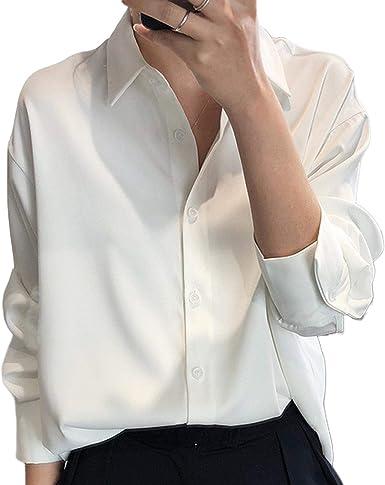 Blouses 2020 Nueva Chic Mujeres Satén Camisas de Manga Larga ...