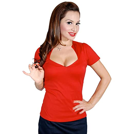1950s Rockabilly & Pin Up Tops, Blouses, Shirts Womens Steady Clothing Sophia Top Red $40.99 AT vintagedancer.com