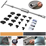 ARISD Paintless Dent Repair Puller Kit - PDR Puller Grip PRO Slide Hammer T-Bar Tool with 16pcs Dent Removal Pulling Tabs for Car Auto Body Hail Damage Remover