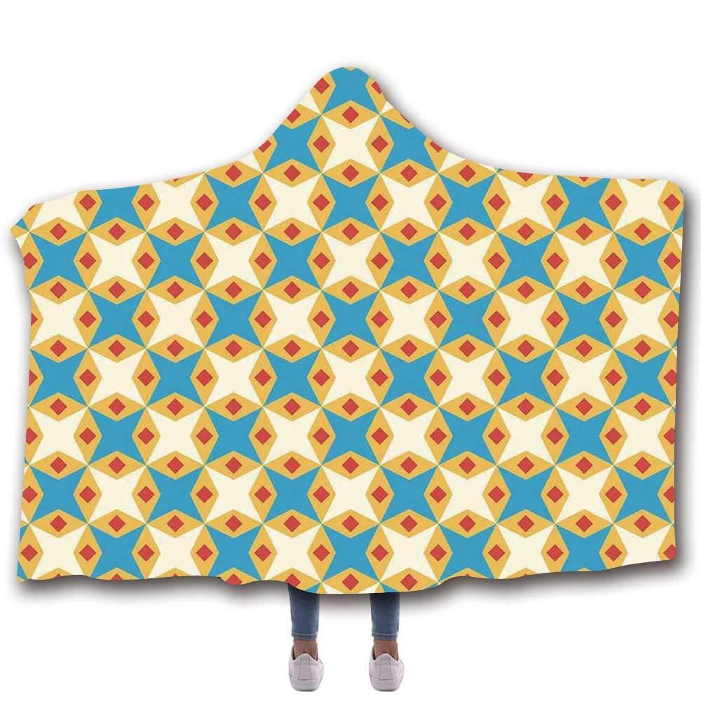 Kids Durable Hooded Blanket,Flower Motifs in Shabby Colors Vintage Ornamental Pattern Geometrical for All Seasons,80'' W x 60'' H