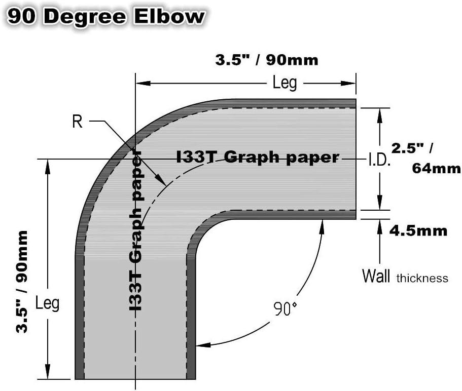 90mm I33T High Performance Silicone Hose ID 2.5 // 2 1//2 // 63mm 90 Degree Elbow Coupler Hose Blue Intercooler Hose Leg Length 3.5