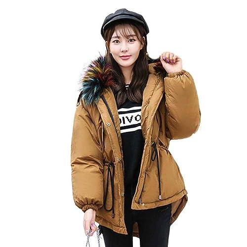 KOROWA Chaqueta con capucha de cuello de piel suelta femenina de invierno Acolchada abrigo grueso de...
