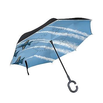 BENNIGIRY Jet Paraguas Inverso Plegable de Doble Capa, Protección UV Grande Recto Paraguas para Coche