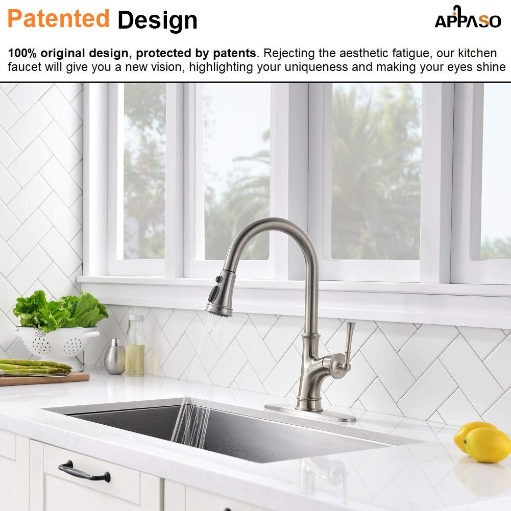 APPASO Pull Down Kitchen Faucet with Magnetic Docking Sprayer, Stainless Steel Brushed Nickel Single Handle Commercial High Arc Single Hole Pull Out Kitchen Sink Faucets with Deck Plate by APPASO (Image #2)