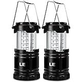 LE Pack de 2 Faroles portátiles LED, a pilas, carcasa extensible ABS, luz amplia de 30 LED, resistente IPX4, linterna ideal para tienda de campaña, pesca, senderismo
