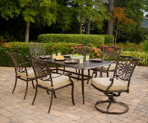 "Hanover TRADITIONS7PCSW, 4 Stationary, 2 Swivel Rocker Chairs, and 38""x72"" R Traditions 7-Piece Cast Aluminum Outdoor Patio Dining Set, Bronze Frame, Tan - Durable, weather-resistant set has 4 deep-cushioned dining chairs, 2 deep-cushioned swivel-rockers with 360-degree spin. Blended extruded-aluminum and decorative-cast components with hand-applied multiple-coat finish remains rust-free for the lifetime of the furniture Deep seat cushions for optimum comfort are quick-drying, stain-resistant, UV protected and maintain their original shape - patio-furniture, dining-sets-patio-funiture, patio - 61c3sM4TqaL -"