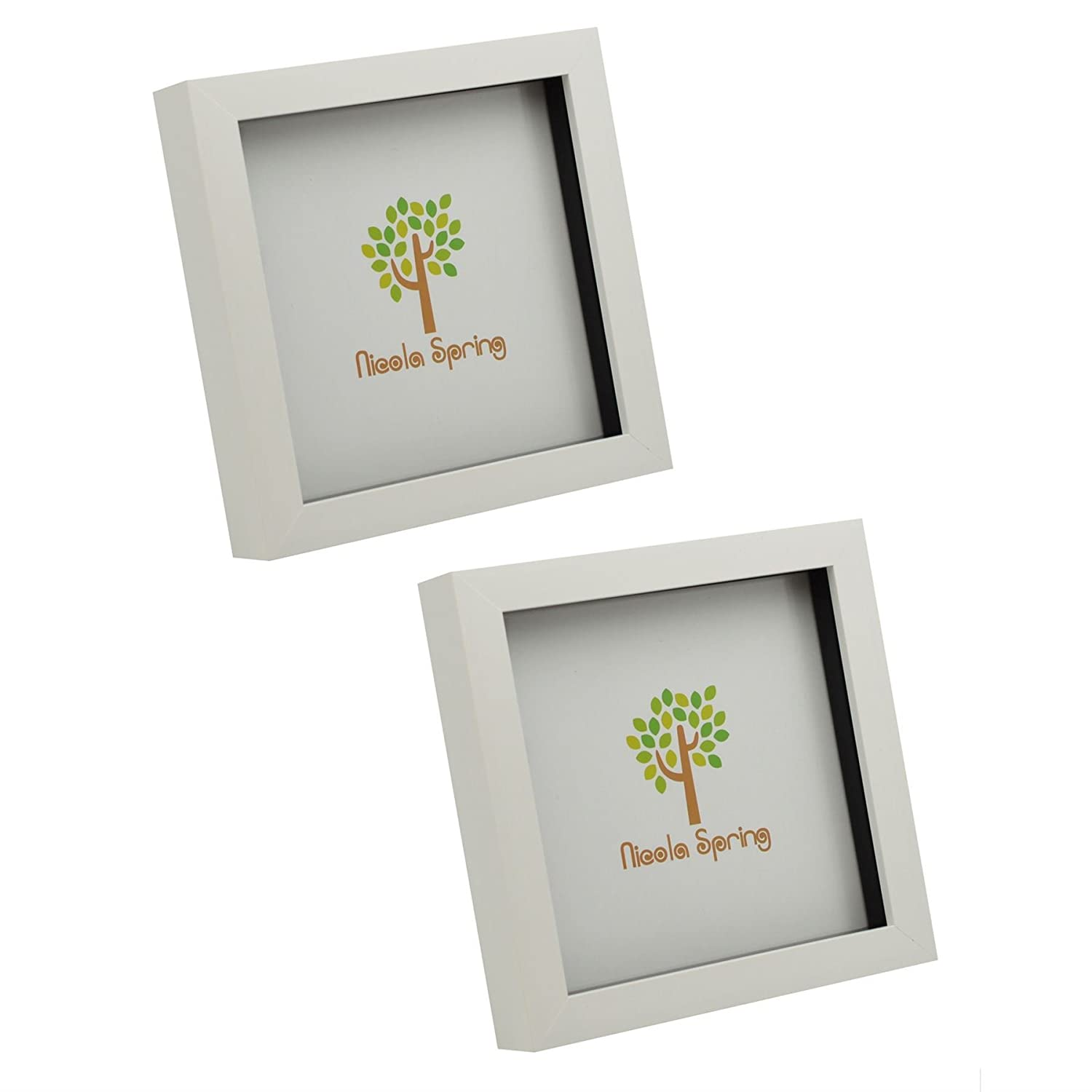 White 6x6 Box Photo Frame - Standing & Hanging - Pack of 2 Nicola Spring