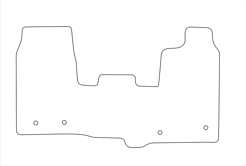 1 Piece Twin Fixings Each Side 2016+ 1739 Black Carpet Car Mats to fit Transit Custom Grey Heel Pad Heavy Duty Rectangle Heel Pad Grey Trim