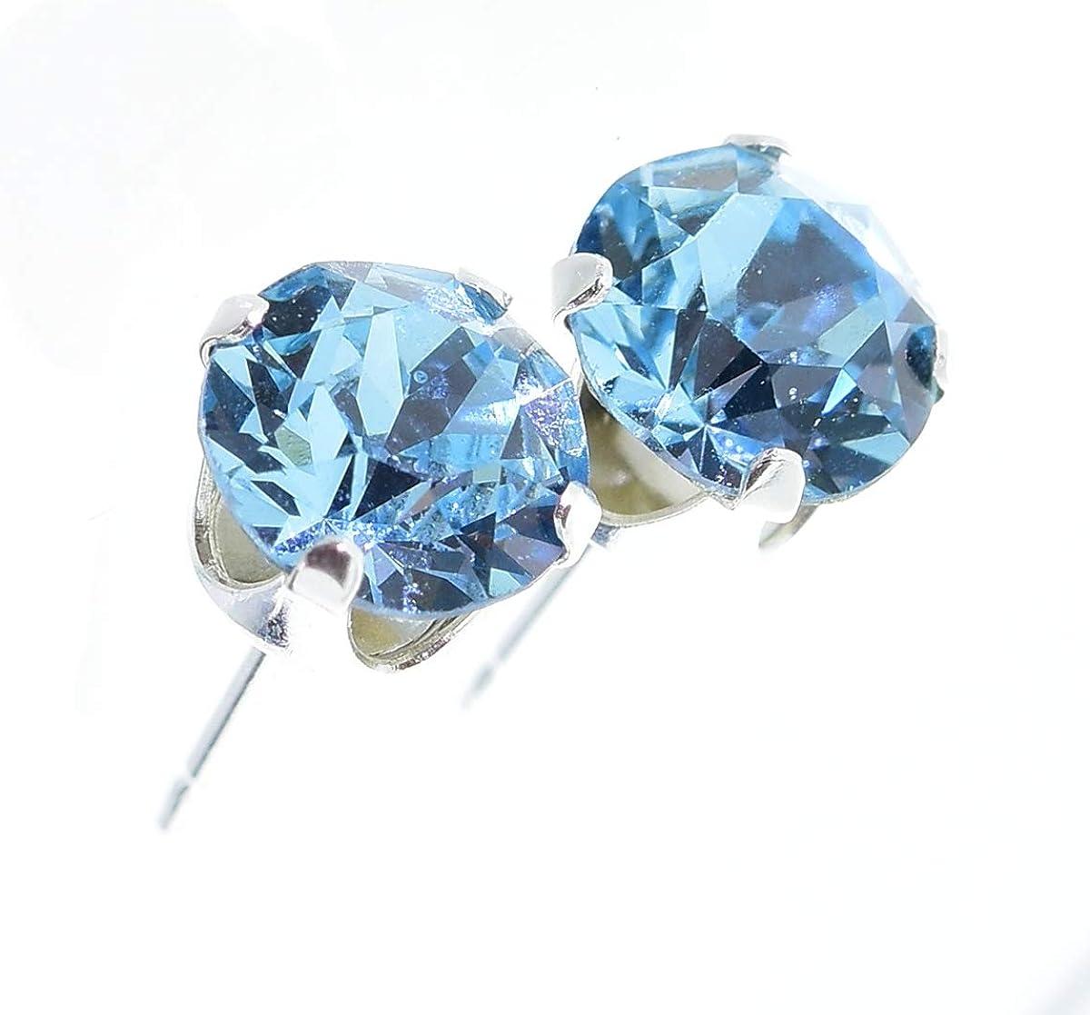 pewterhooter. Pendientes de plata de ley 925 hechos con cristal Aquamarine brillante de SWAROVSKI® para Mujer.