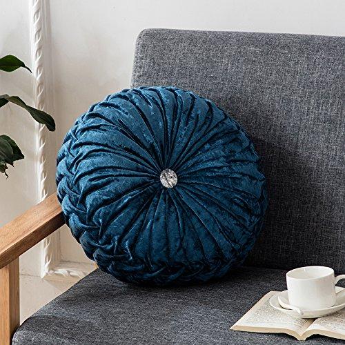 Round Pumpkin (Zhiyuan Unique Pumpkin Shaped Round Throw Pillow Home Sofa Decorative Cushion 13.5 x 13.5 Inch)