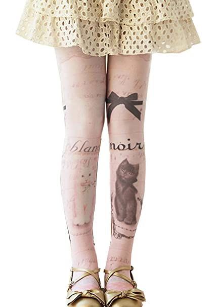 b520eb96a RedBeana Women Cute Black   White Cat Print Pantyhose Tight Stocking White  One Size