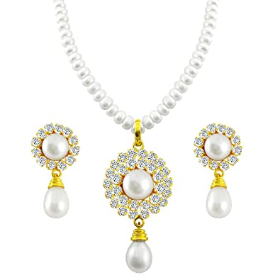 498d97fafaeac Sri Jagdamba Pearls Pearl White Pendant Necklace with Earrings Set for  Women/Girls