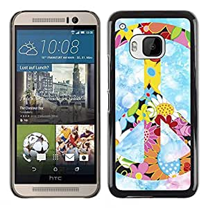 Impact Case Cover with Art Pattern Designs FOR HTC One M9 Peace Hippie Symbol Colorful Flowers Spring Betty shop