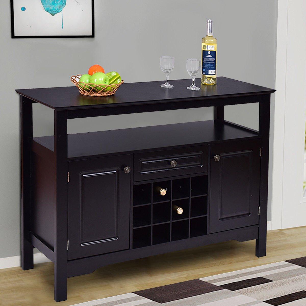 Amazon.com   Giantex Black Buffet Server Wood Cabinet Sideboard Cupboard  Table With/wine Rack   Buffets U0026 Sideboards