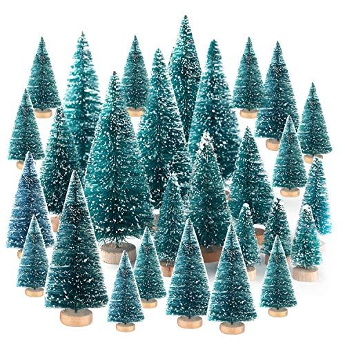KUUQA 48Pcs Mini Sisal Trees Bottle Brush Trees Diorama Models Miniature Christmas Trees for Crafts, Christmas Party Home Decoration (Decorations Craft Tree Christmas)